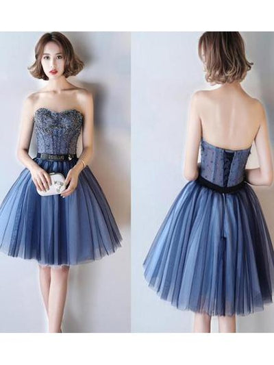 Charming A-line Sweetheart Homecoming Dress Blue Short Prom Drsess SKY688