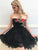 Charming A-line Strapless Short Prom Drsess Homecoming Dress With Lace SKY729
