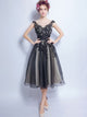 Black Charming Homecoming Dress Bateau Short Prom Drsess SKY750