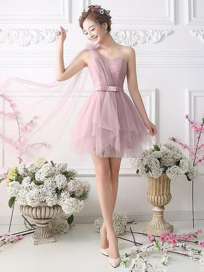 Cute A-line One Shoulder Short Prom Drsess Homecoming Dress SKY761