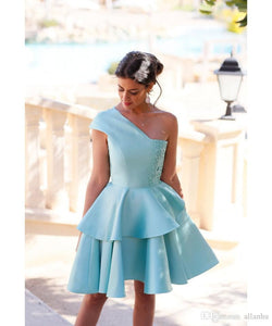 Cute A-line One Shoulder Short Prom Drsess Homecoming Dress SKY770