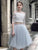 Two Pieces A-line Bateau Tulle Homecoming Dress Blue Short Prom Drsess SKY771
