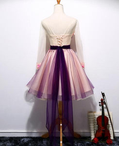 A-line V-neck Tulle Homecoming Dress Short Prom Drsess SKY793