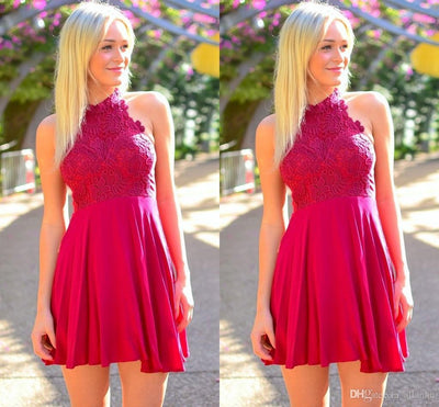 A-line High Neck Homecoming Dress Short Prom Drsess SKY802