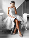 A-line Spaghetti Straps High Low Prom Dress Tulle Prom Drsess SKY829