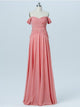 A-line Off-the-shoulder Floor-length Prom Dress Chiffon Bridesmaid Dress SKY832