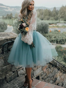 A-line Scoop Long Sleeve Homecoming Dress Tulle Green Short Prom Drsess With Lace SKY840