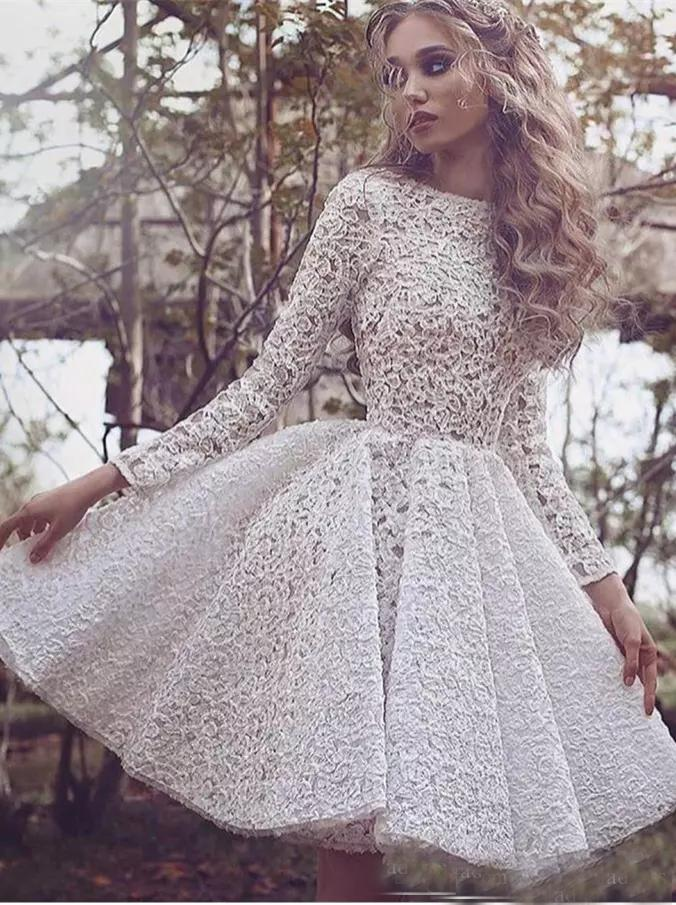 c9daf806b2 A-line-Beteau-Homecoming-Dresses-White-Short-Prom-Dress-With-Lace ...
