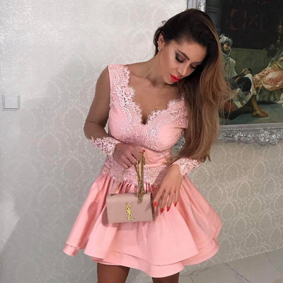 Charming A-line V-neck Homecoming Dress Pink Short Prom Drsess With Lace SKY862