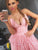 Charming A-line Spaghetti Straps Homecoming Dress Pink Short Prom Drsess With Lace SKY864