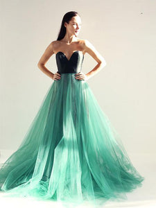 Charming A-line Sweetheart Green Tulle Prom Drsess Formal Dress SKY890