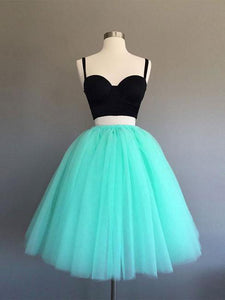 Two Pieces A-line Spaghetti Straps Green Homecoming Dress Tulle Short Prom Drsess SKY926