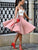 Charming A-line Spaghetti Straps Homecoming Dress Pink Short Prom Drsess SKY937
