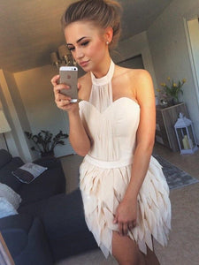 A-line Halter Chiffon Homecoming Dress Pearl Pink Short Prom Drsess SKY946
