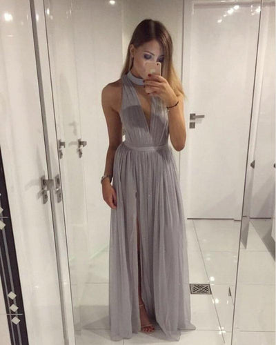 A-line High Neck Floor-length Chiffon Prom Dress Evening Drsess SKY947