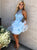 A-line High Neck Tulle Blue Homecoming Dress Short Prom Drsess SKY956