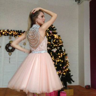 A-line High Neck Pink Homecoming Dress Short Prom Drsess With Beading SKY959