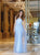 Charming A-line Scoop Floor Length Tulle Blue Prom Dress Evening Drsess SKY972