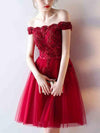 Charming A-line Off-the-shoulder Homecoming Dress Short Prom Drsess SKY990