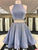 Two Pieces A-line Scoop Homecoming Dress Short Prom Drsess With Beading SKY991