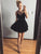 Black A-line Spaghetti Straps Homecoming Dress Short Prom Drsess SKY998