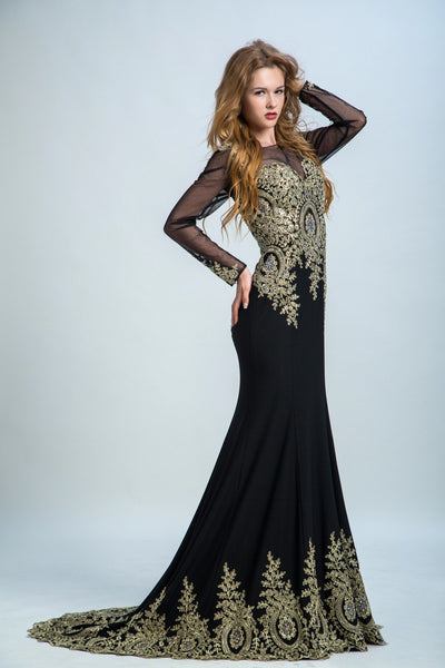 Chic Black Prom Dresses Lace Long Chiffon Prom Dress AMY034