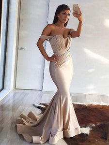 Trumpet/Mermaid Off-the-shoulder Floor-length Short Chiffon Prom Dress/Evening Dress # VB001
