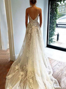 A-line Spaghetti Straps Floor-length Sleeveless Tulle Wedding Dress # VB009