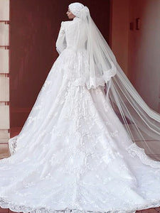A-line High Neck Court Train Long Sleeve Tulle Wedding Dress # VB014