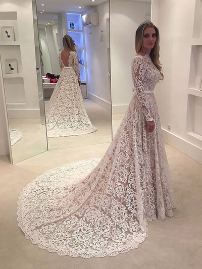 2018 Wedding Dresses With Sleeves A-line Lace Simple Cheap Wedding ...