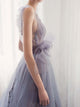 A-line V-neck Floor-length Sleeveless Organza Prom Dress/Evening Dress # VB021