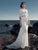 Sheath/Column Scoop Floor-length Half sleeve Tulle Wedding Dress # VB025