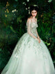 A-line Off-the-shoulder Court Train 3/4-Length Tulle Prom Dress/Evening Dress # VB026