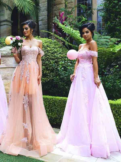 A-line Off-the-shoulder Floor-length Short Tulle Bridesmaid Dresses # VB034
