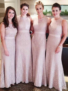 Sheath/Column Scoop Floor-length Sleeveless Tulle Bridesmaid Dresses #VB041