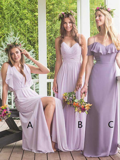 A-line Spaghetti Straps Floor-length Sleeveless Chiffon Bridesmaid Dresses #VB042