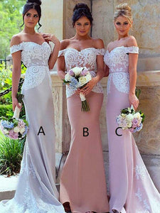 Sheath/Column Off-the-shoulder Floor-length Short Satin Bridesmaid Dresses #VB043