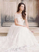 A-line Off-the-shoulder Floor-length Short Tulle Wedding Dress #VB049