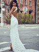 Sheath/Column Scoop Floor-length Sleeveless Tulle Wedding Dress #VB050