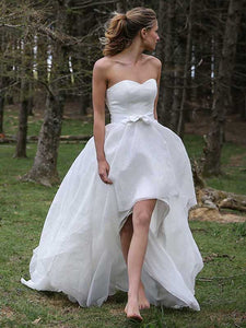 A-line Sweetheart Asymmetrical Sleeveless Organza Wedding Dress #VB052