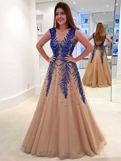 A-line V-neck Floor-length Sleeveless Tulle Prom Dress/Evening Dress #VB062