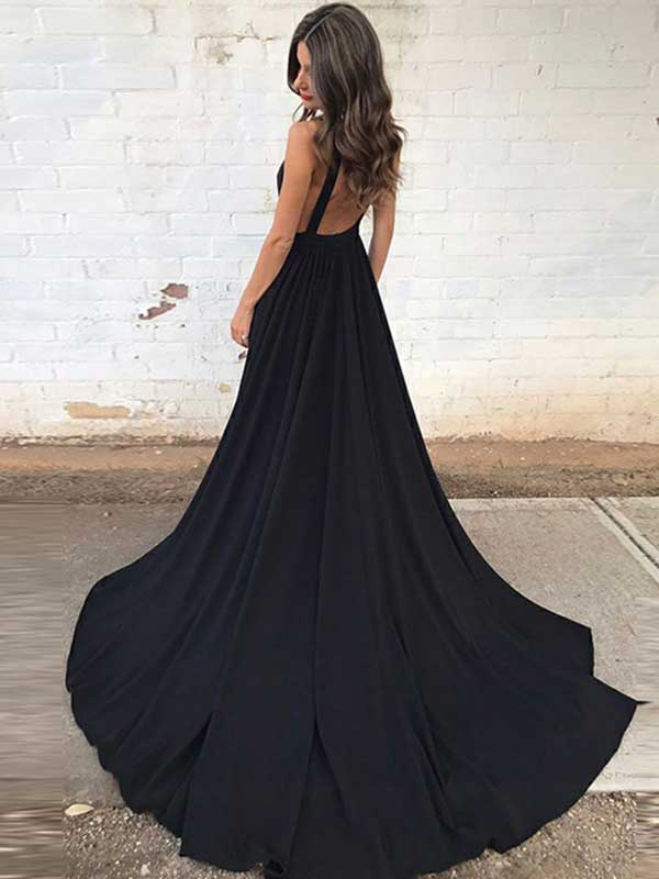 A-line V-neck Sweep/Brush Train Sleeveless Chiffon Prom Dress/Evening Dress #VB064