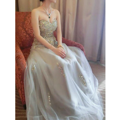 A-line Sweetheart Floor-length Sleeveless Tulle Prom Dress/Evening Dress # VB070