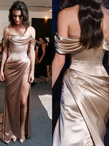 Sheath/Column Off-the-shoulder Floor-length Short Elastic Woven Satin Prom Dress/Evening Dress # VB074