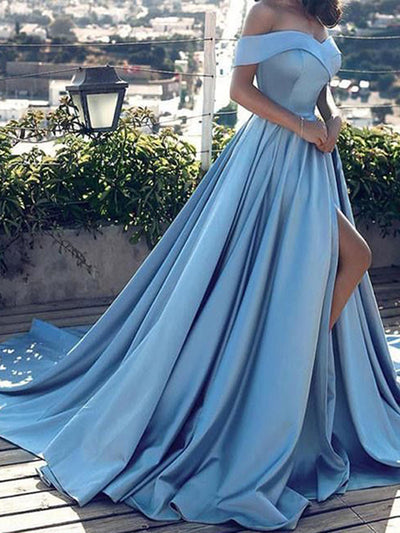 2018 A-line Prom Dress Off-the-shoulder Cheap Long Prom Dress # VB080