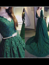 A-line V-neck Sweep/Brush Train Long Sleeve Tulle Prom Dress/Evening Dress # VB088