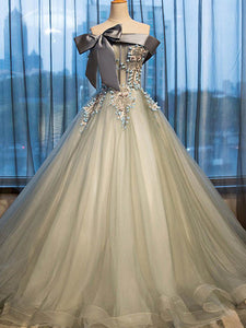 A-line Off-the-shoulder Floor-length Sleeveless Tulle Prom Dress/Evening Dress # VB1006