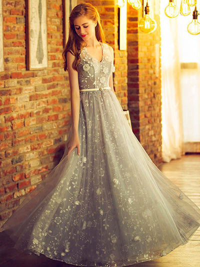 Beautiful Prom Dress Straps Floor-length Lace Prom Dress/Evening Dress # VB1009