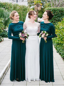 A-line Bateau Floor-length Long Sleeve Chiffon Bridesmaid Dresses # VB100