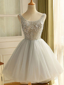 Beautiful Homecoming Dress Appliques Straps Beading silver Tulle Short Dress # VB1010
